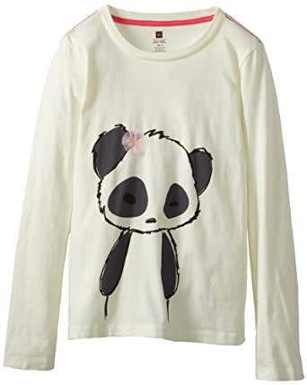 Tea Collection Girls 7-16 Long Sleeve Graphic Panda Tee, Milk, 12