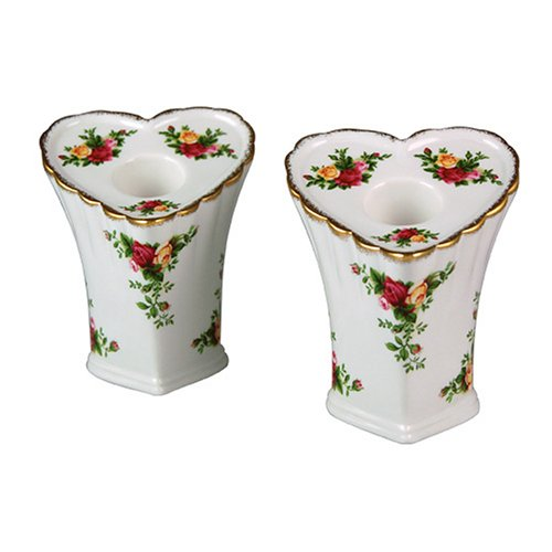 Royal Albert Old Country Roses Heart Taper Candlesticks, Set of 2