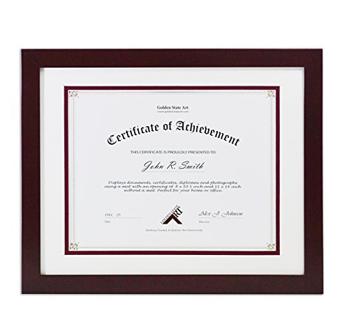 Golden State Art, 11x14 Wood Frame with Double Mat For 8.5x11 Document & Certificates, Real Glass, Mahogany (8 1 2 X 11 Document Frame compare prices)
