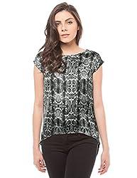 Shuffle Women's Back Detail Shirt (1021503501_Black Mix_Small)
