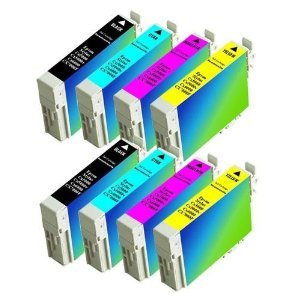 8 Pack Epson Ink Cartridges for Epson Stylus CX5000, CX6000, CX7000F, CX7400, CX7450, CX8400, CX9400Fax, CX9475Fax, C120, NX100, NX200, NX300, NX400 replacement ink 2 of ea. Color