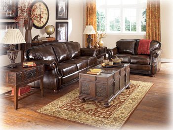 Buy Low Price AtHomeMart Brown Leather Sofa and Loveseat Set (ASLY4630038_4630035_2PC)