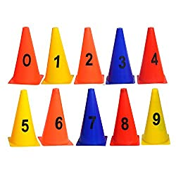 GSI Pack of 10 Elementary Marker Cones for Soccer Cricket Track and Field Sports