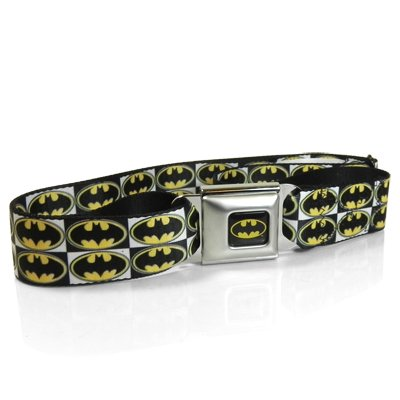 Batman Logo Seatbelt Buckle Checker Strap Belt, Official Licensed from BD