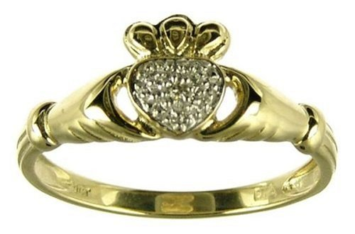 9ct Yellow Gold Ladies' Diamond Set Celtic Claddagh Ring Size O