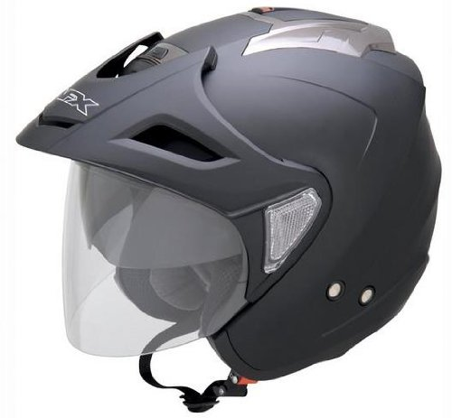 AFX FX-50 Unisex-Adult Open-Face-Helmet-Style Helmet (Flat Black, Medium)