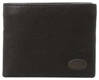 Fossil Men's Estate Zip Passcase Wallet, Black, One Size