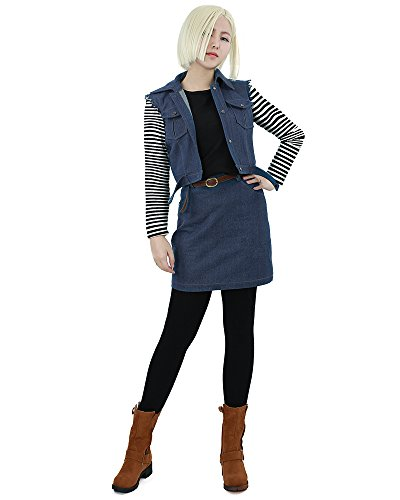 [Miccostumes Womens Dragon Ball Android 18 Cosplay Costume ws] (Android 17 And 18 Costumes)