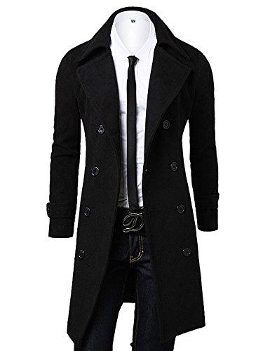 OCHENTA, a doppio petto classico collare cappotto di lana, uomo Nero Asian 2XL - Italiana 54