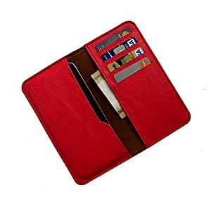 i-KitPit : PU Leather Wallet Flip Pouch Case For Samsung S Advance (RED)
