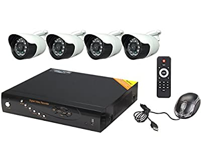 Aposonic 4-Channel H.264 AHD 720P / 960H Hybrid DVR with 4 x Outdoor 1.3MP 720P IR Cameras Surveillance HD System with 1TB HDD, Mobile Access, Mac Ready