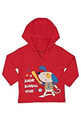Chirpie Pie by Pantaloons Boy's Hooded T-Shirt (205000005609934, Red, 3-6 Months)