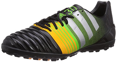 Adidas Nitrocharge 3.0 Tf - Scarpe da calcio, Nero (Black 1 / Metallic Silver / Neon Orange), taglia 44