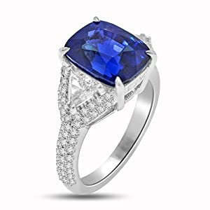 8.46 Ct Sapphire & Diamond Cocktail Ring 18k White Gold