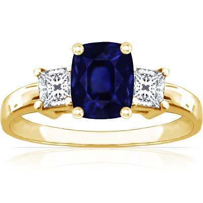 14K Yellow Gold Cushion Cut Blue Sapphire Three Stone Ring