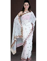Exotic India Ivory Bridal Sari With All-Over Sequins And Threadwork - Ivory