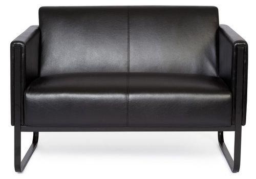 Loungesofa-BALI-BLACK-Gestell-schwarz-Kunstleder-glatt-2-Sitzer-schwarz-hjh-OFFICE