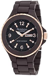Armitron Men's 20/4762BNTR Rosegold-Tone Accented Brown Ceramic Bracelet Day Date Watch