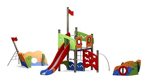 Kletterturm DRACHE mit Rutsche, Kletternetz und Kletterwand - für öffentliche Spielplätze & Einrichtungen
