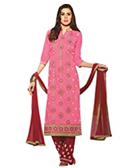 Inddus Women Pink & Maroon Embroidered Unstiched Dress Material