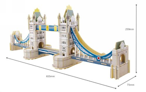 3D Wood Puzzle Wooden Model London Tower Bridge England River Thames for Christmas gift