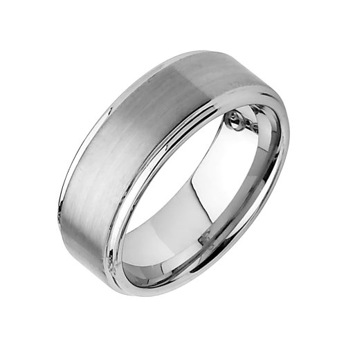 8mm Rounded Edge Tungsten Wedding Band Ring for Men - Size 8.5