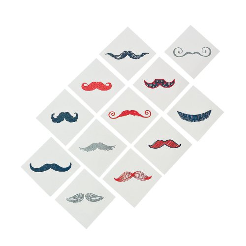 Fun Express 72 Red/White/Blue Glitter Mustache - Fingerstache Tattoos - Party Decorations Set - 1