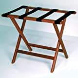 Wooden Mallet Deluxe Straight Leg Luggage Rack, Mahogany, Black Straps