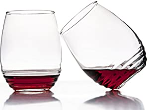 Set Of 4 Stemless Wine Glasses 17 Ounce