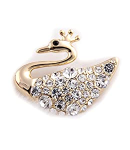 Celebrity Jewellery-Ladies Gold Tone Crown Swan Swarovski Elements Crystal with Rhinestone Gold Plated Brooch for Women B45