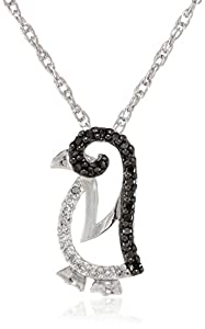 Sterling Silver Black and White Diamond Penguin Pendant Necklace (1/7 cttw)