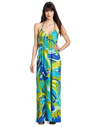 Trina Turk Women's Bali Waves Long Dress, Teal, X-Small