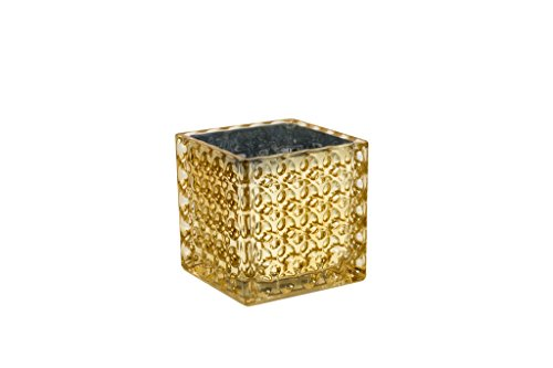 Royal Imports 6 Square Champagne Gold Glass Vase With Dimples