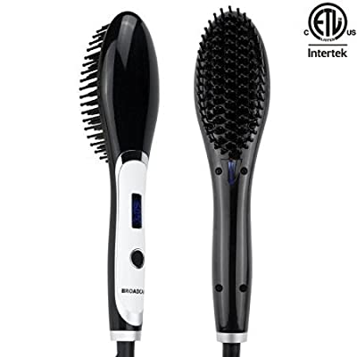 BROADCARE Hair Straightener Brush Anion Detangling Frizz-free Electric Straightening Comb with Hair Massaging Function
