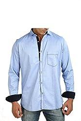 Faceman Men's Cotton Slim Fit Casual Shirt (1004_Skyblue_XXL)