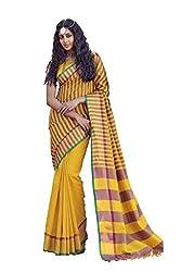 AASRI Women Yellow Cotton Blend Printed Work Saree