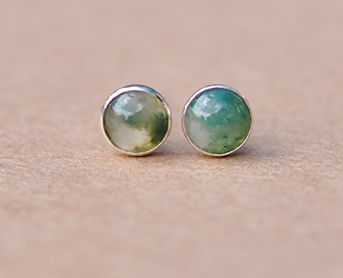 Green moss agate stud earrings with sterling silver studs. (Moss Agate Ring compare prices)