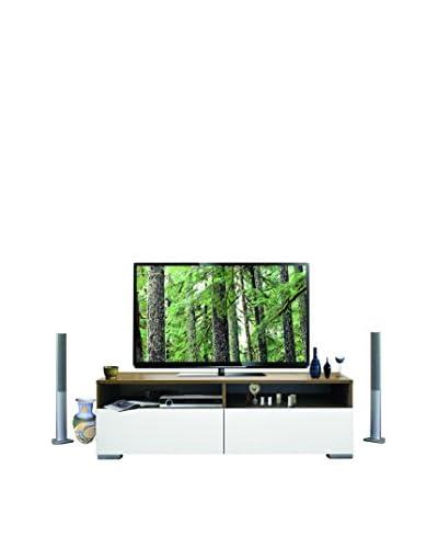Kenyap Mueble De TV Blanco / Marrón Oscuro 140 x 44 x 42
