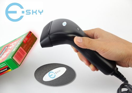 Esky Black Hand Held Contact USB CCD Barcode Scanner Barcode Reader