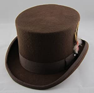 Brown Wool Felt Top Hat - Size Small (55cm) from Patterns of Time