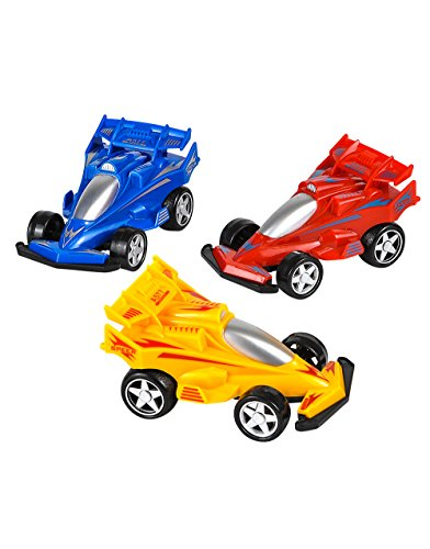 "3 Rev Up And Go Friction 4"" Formula One Race Cars Vehicle Toy"