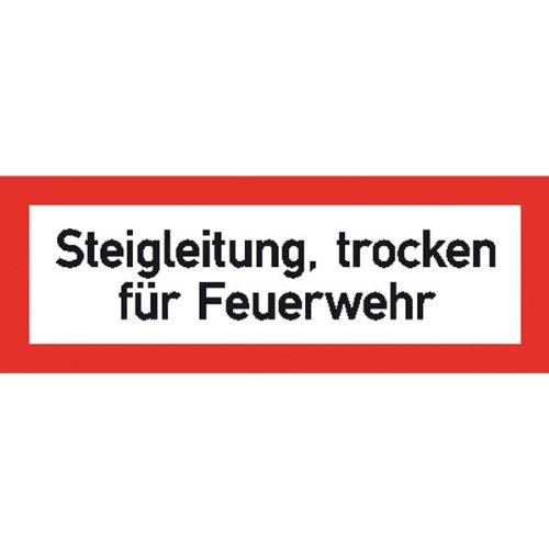 Hinweisschild Brandschutz Steigleitung, trocken für Feuerwehr,selbstkl.21x7,40cm