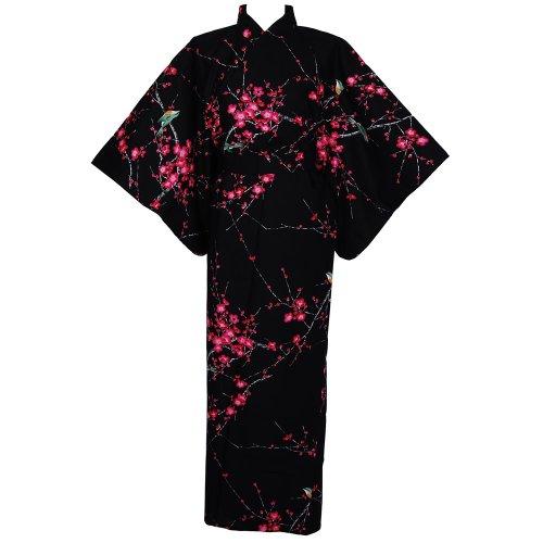 Plum blossom with bird kimono - Black, one size