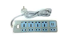 Gadget-Wagon 4 nos 3way & 4 nos 2 way plug with 2.1 Amp Dual USB -1.8 meters cord length, Led Indicator