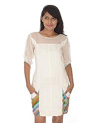 Gurpreet Kaur Women Raw Silk Tunic (TU006, White, 39)