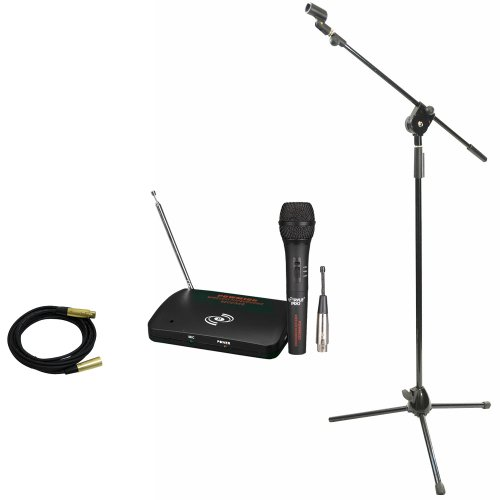 Pyle Mic, Cable And Stand Package - Pdwm100 Dual Function Wireless/Wired Microphone System - Pmks3 Tripod Microphone Stand W/ Extending Boom - Ppmcl15 15Ft. Symmetric Microphone Cable Xlr Female To Xlr Male
