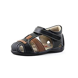 Wobbly Waddlers | FIRST STEPS - LUKE | Black Leather Fisherman Sandals | Baby girl, Toddler girl, Baby boy, Toddler boy, Unisex (w/ankle support) | Size 8 Wide Toddler