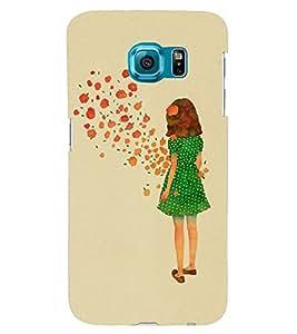 Printvisa Green Dress Girl Admiring Flowers Back Case Cover for Samsung Galaxy S6