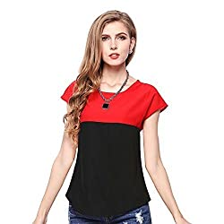 Binny Creation Women's Black Red Western Crepe Top