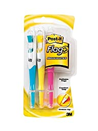 Post-it Flag+ Highlighter, Yellow, Pink, and Blue, 50-Color Coordinated Flags/Highlighter, 18-Pack